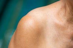 资深妇女` s肩膀,关闭,蓝色游泳池 免版税库存图片