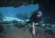资深潜水者进入吹管斯普林斯洞穴 库存图片