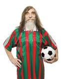资深足球体育活动 老人足球迷 图库摄影