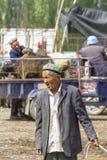 资深Uyghur人在星期天家畜市场,喀什,中国上 库存照片