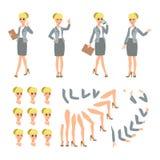 赋予生命的女实业家字符 小姐要人建设者 另外妇女摆姿势,面对,腿,手 传染媒介动画片每 向量例证