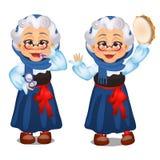 赋予生命的老妇人,唇膏,与在白色背景隔绝的小手鼓的舞蹈 第二风 剪影欢乐 向量例证