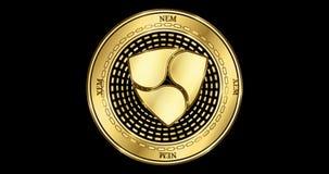 赋予生命的NEM XEM cryptocurrency金币 皇族释放例证