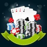 赌博和赌博娱乐场海报-纸牌筹码,纸牌 免版税库存图片