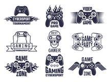 赌博商标集合 电子游戏和网络体育标签 皇族释放例证