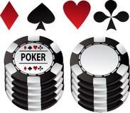 赌博啤牌诉讼的黑色筹码 皇族释放例证