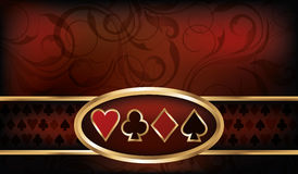 赌博娱乐场与啤牌元素的名片 库存图片