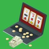 赌博娱乐场传染媒介与啤牌,纸牌,轮盘赌的例证设计 赌博娱乐场普遍的赌博的网络游戏标志 免版税库存照片