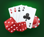 赌博娱乐场例证与切成小方块,卡片和芯片 库存图片
