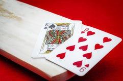 赌博娱乐场倍克拉纸牌审判官席的Punto 免版税库存图片