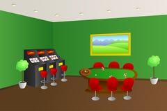 赌博娱乐场内部绿色比赛表红色供以座位老虎机例证 免版税库存照片