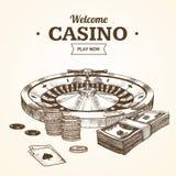 赌博娱乐场卡片或海报巫婆轮盘赌的赌轮手凹道剪影 向量 向量例证