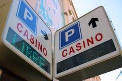 赌博娱乐场和停车处签到摩纳哥 免版税库存图片