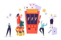 赌博娱乐场和赌博的概念 打在时运比赛的人字符  男人和妇女戏剧啤牌,轮盘赌,槽孔 皇族释放例证