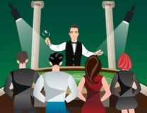 赌博娱乐场和轮盘赌与人妇女和副主持人 皇族释放例证