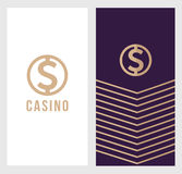 赌博娱乐场商标横幅,美元的符号象,标签标志,略写法概念 适用于飞行物,海报 向量 图库摄影