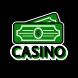 赌博娱乐场啤牌商标模板 幸运的优胜者美元金钱 库存照片