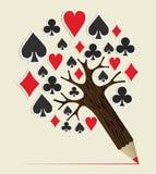 赌博娱乐场啤牌概念树 库存照片