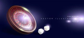 赌博娱乐场在蓝色背景隔绝的轮盘赌的赌轮 3D现实传染媒介例证 网上啤牌赌博娱乐场轮盘赌 皇族释放例证