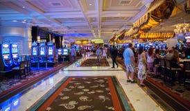 赌博娱乐场在贝拉焦旅馆里在拉斯维加斯 免版税库存照片