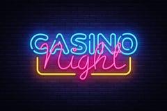 赌博娱乐场夜霓虹灯广告传染媒介设计模板 赌博娱乐场霓虹商标,轻的横幅设计元素五颜六色的现代设计 向量例证
