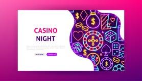 赌博娱乐场夜霓虹登陆的页 皇族释放例证