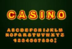 赌博娱乐场字体 辉光灯信件 与灯的减速火箭的字母表 vi 向量例证