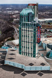 赌博娱乐场宫殿 小桶Embassy Suites 尼亚加拉瀑布,鸟瞰图 免版税库存照片