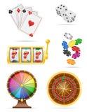 赌博娱乐场对象和设备集合象库存传染媒介例证 向量例证
