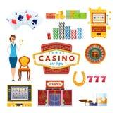 赌博娱乐场拉斯维加斯概念 成功,运气,幸福 赌博,啤牌,金钱 皇族释放例证