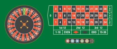 赌博娱乐场有赌博娱乐场的轮盘赌的赌轮在选材台上切削 免版税库存图片