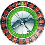 赌博娱乐场有镀铬物元素的轮盘赌的赌轮 库存照片