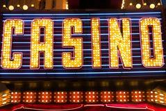 赌博娱乐场签字点燃 免版税图库摄影