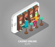 赌博娱乐场网上流动槽孔传染媒介例证 向量例证