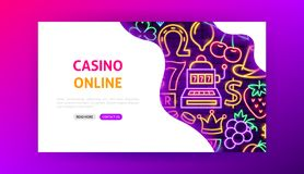 赌博娱乐场网上霓虹登陆的页 库存例证