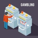 赌博娱乐场老虎机 使用果子困境传染媒介等量3d例证 免版税库存照片