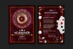 赌博娱乐场背景样式一点, Vip邀请扑克牌游戏 赌博娱乐场海报或横幅背景或者飞行物模板 使用 皇族释放例证