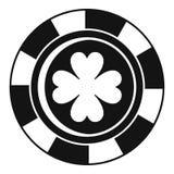 赌博娱乐场芯片三叶草象,简单的样式 向量例证