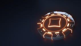 赌博娱乐场芯片与发光的霓虹橙色光的金刚石概念和把在黑背景隔绝的小点切成小方块- 3D例证 皇族释放例证