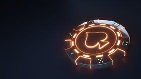 赌博娱乐场芯片与发光的霓虹橙色光的锹概念和把在黑背景隔绝的小点切成小方块- 3D例证 皇族释放例证