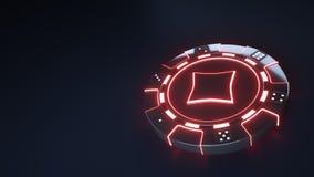 赌博娱乐场芯片与发光的霓虹红灯的金刚石概念和把在黑背景隔绝的小点切成小方块- 3D例证 皇族释放例证