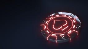 赌博娱乐场芯片与发光的霓虹红灯的锹概念和把在黑背景隔绝的小点切成小方块- 3D例证 皇族释放例证