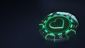 赌博娱乐场芯片与发光的霓虹绿灯的心脏概念和把在黑背景隔绝的小点切成小方块- 3D例证 向量例证