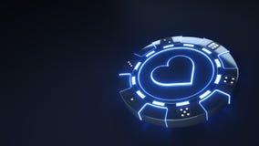 赌博娱乐场芯片与发光的霓虹蓝色光的心脏概念和把在黑背景隔绝的小点切成小方块- 3D例证 库存例证