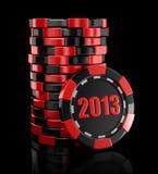 赌博娱乐场芯片堆积2013年(包括的裁减路线) 免版税库存照片