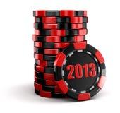 赌博娱乐场芯片堆积2013年(包括的裁减路线) 库存照片