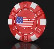 赌博娱乐场芯片有美国(包括的裁减路线的)地图的 免版税库存图片