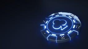 赌博娱乐场芯片棍打与发光的霓虹蓝色光的概念并且把在黑背景隔绝的小点切成小方块- 3D例证 库存例证