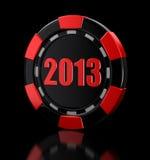 赌博娱乐场芯片2013年(包括的裁减路线) 免版税库存图片