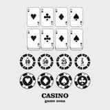 赌博娱乐场设计元素传染媒介象 赌博娱乐场比赛 演奏c的一点 图库摄影